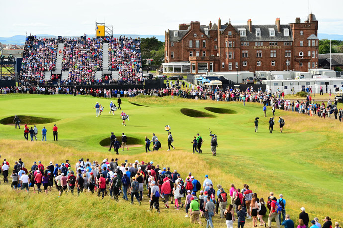 The scene Thursday during the first round of the British Open at Royal Troon Golf Club.