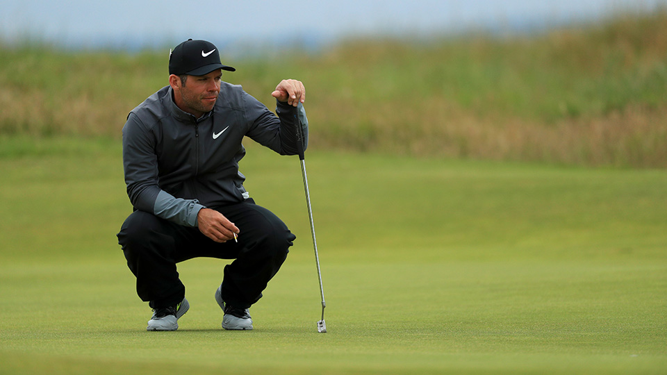 Paul Casey lines up a putt on the 3rd during the second round on day two of the 145th Open Championship at Royal Troon on July 15, 2016.