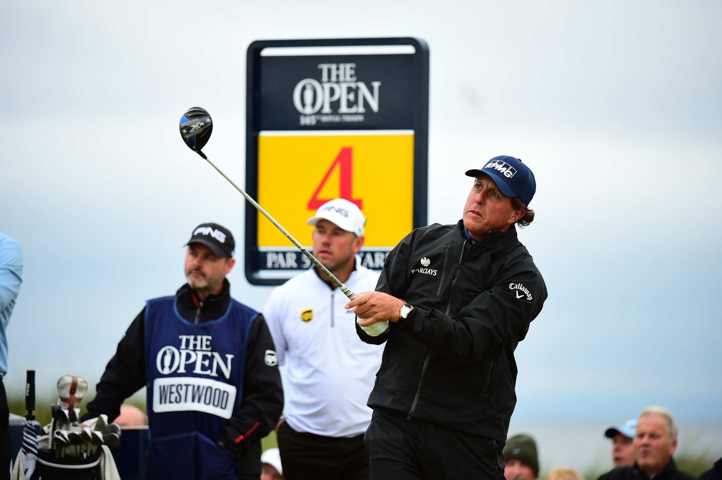 Phil Mickelson tees off on the 4th hole during the second round of the British Open on Friday at Royal Troon. Mickelson holds the 36-hole lead as he eyes a sixth major title.