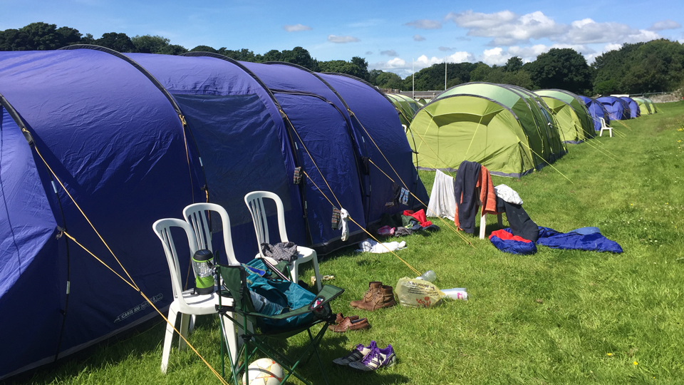 You won't find any campfires, grilling tools or wifi at the Open Camping Village.