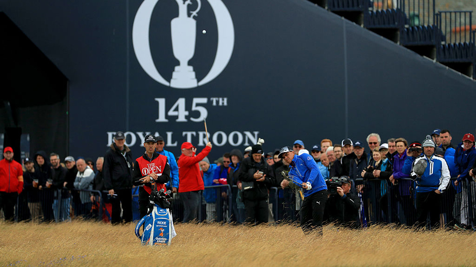 The third round at the British Open kicked off Saturday morning with wind gusts up to 25 mph.