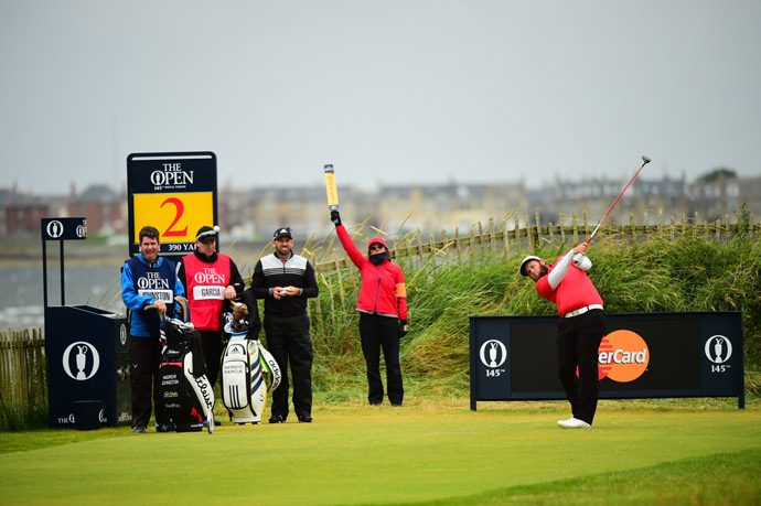 "Andrew ""Beef"" Johnston tees off the 2nd hole during the third round of the British Open."