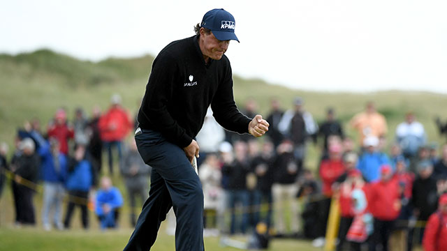 Phil Mickelson of the United States celebrates holing a birdie putt on the 13th green during the third round on day three of the 145th Open Championship at Royal Troon on July 16, 2016 in Troon, Scotland.