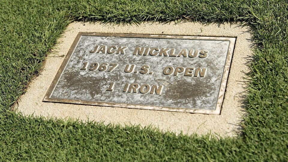 A plaque in the 18th fairway at Baltusrol commemorates the famous 1-iron that Jack Nicklaus hit during the 1967 U.S. Open.