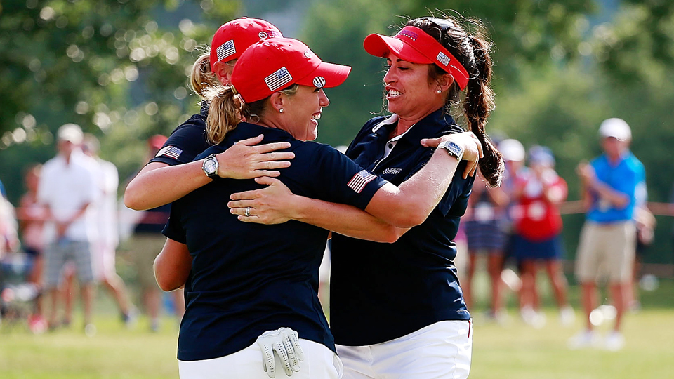 Cristie Kerr (left) celebrates her 3-2 match win to give the United States the UL National Crown win.