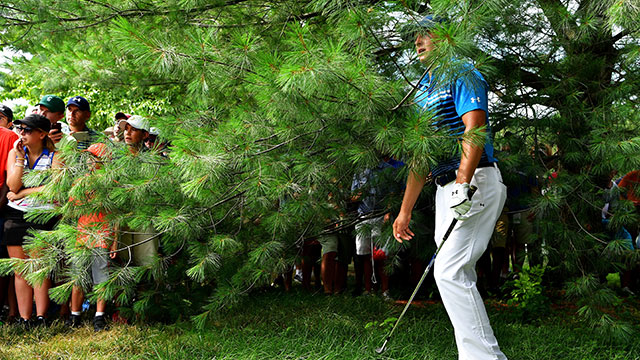 Jordan Spieth of the United States plays his second shot on the seventh hole during the first round of the 2016 PGA Championship at Baltusrol Golf Club