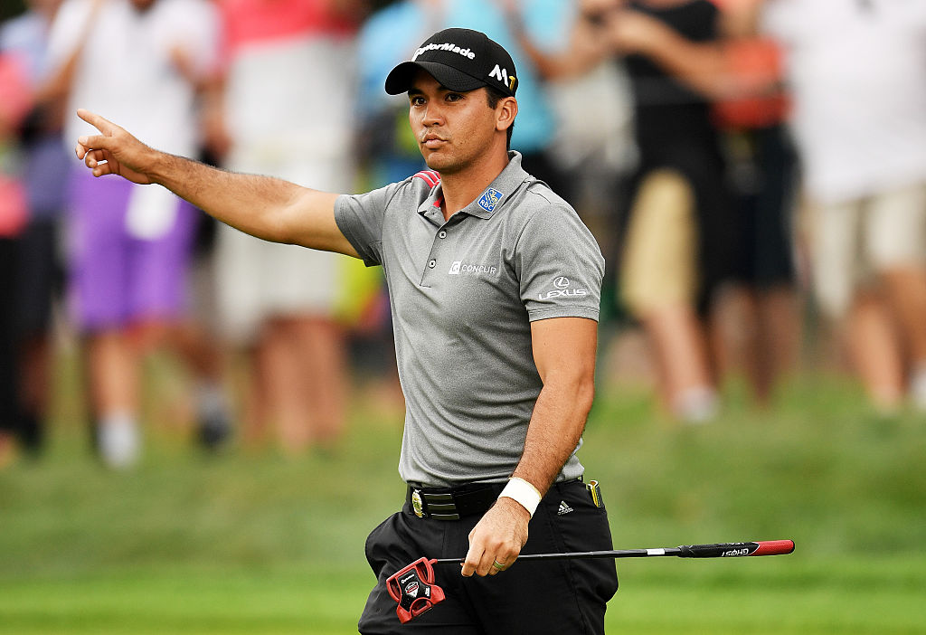Jason Day poured in a 74-foot putt during the continuation of the weather delayed third round of the 2016 PGA Championship at Baltusrol Golf Club.