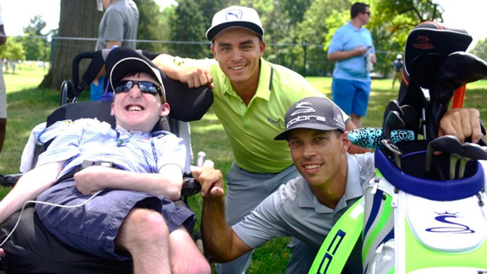 David met with Rickie Fowler and his caddie, Joe Skovron, at Baltusrol.