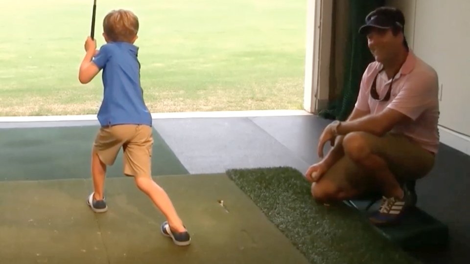 Tommy Morrissey is a fan of the PGA Tour. Watch him mimic the swings of top pros.