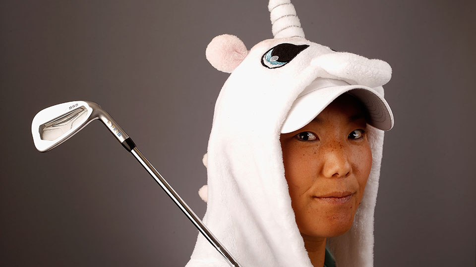 Tiffany Joh routinely dons her unicorn onesie on the practice range.