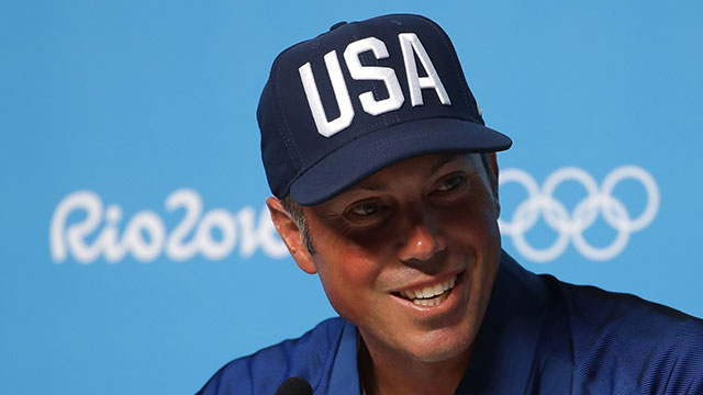Matt Kuchar of the United States attends a press conference at the Main Press Center during Day 4 of the Rio 2016 Olympics on August 9, 2016.