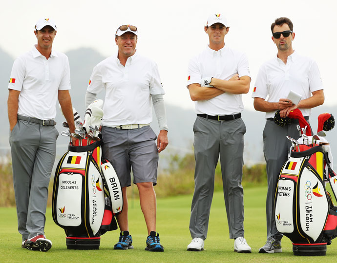 Belgium's Nicolas Colsaerts (far left) and Thomas Pieters (second from right)