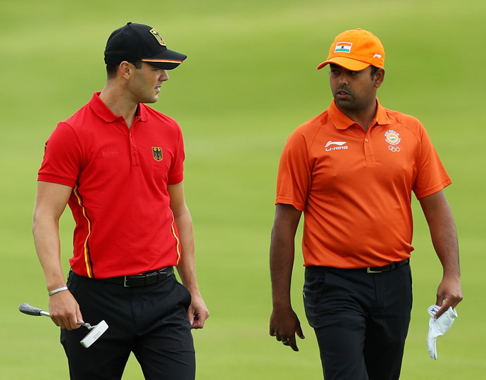 Germany's Martin Kaymer (left) and India's Anirban Lahiri