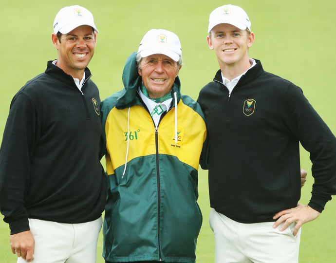 South Africa's Jaco van Zyl (left), team leader Gary Player (middle) and Brandon Stone (right)
