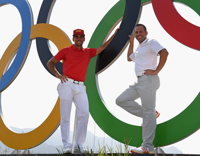 Spain's Rafael Cabrera-Bello (left) and Sergio Garcia (right)