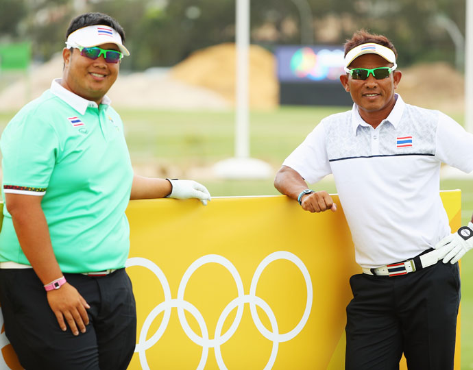 Thailand's Kiradech Aphibarnrat (left) and Thongchai Jaidee (right)