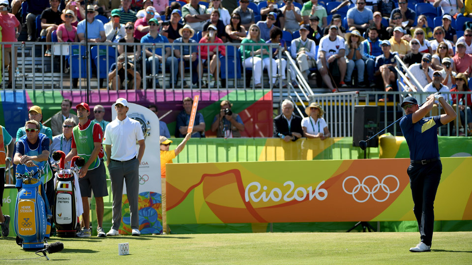 Henrik Stenson hits a tee shot during the third round of the Olympic Golf tournament in Rio.
