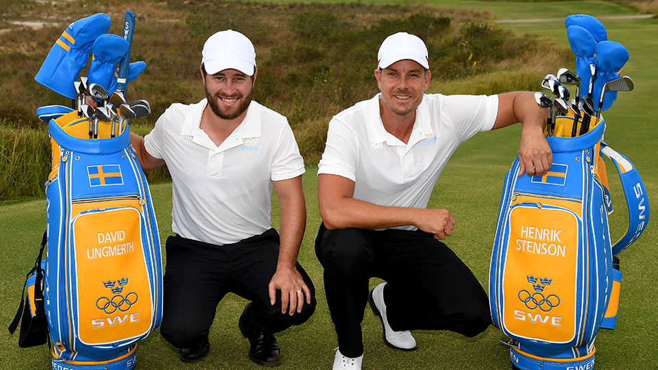 Sweden's David Lingmerth and Henrik Stenson pose with their bags before the Olympic competition begins.