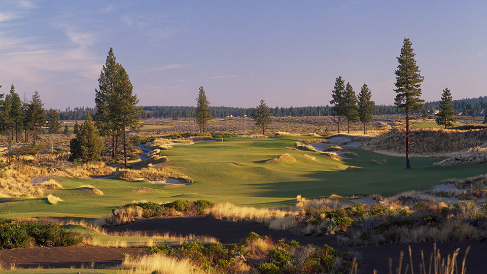A shot of the first hole at Tetherow Golf Club in Bend, Oregon.