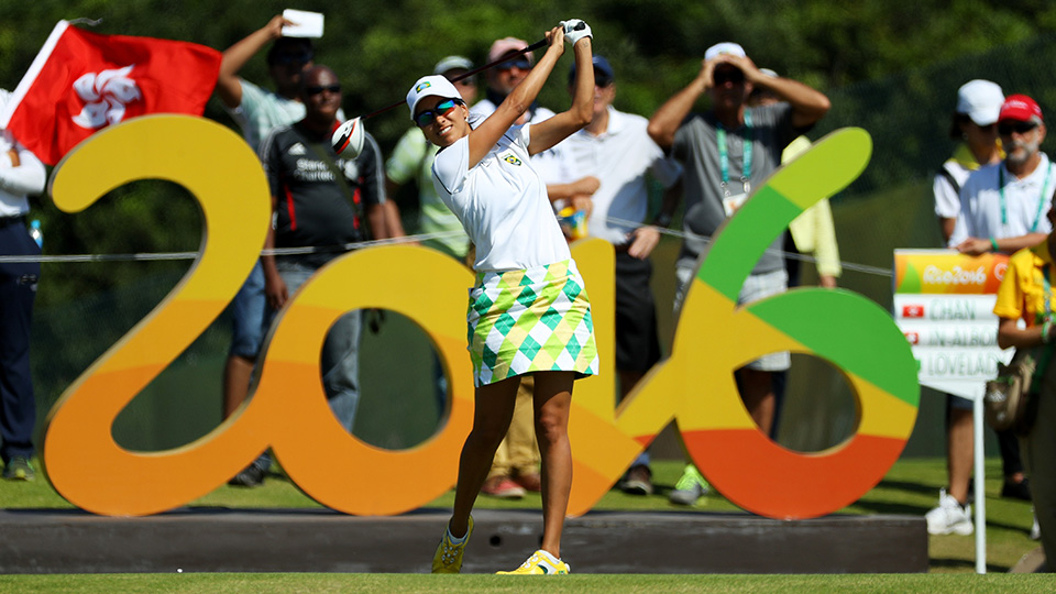 Victoria Lovelady of Brazil plays her shot from the 16th tee during the Round 1 of women's Olympic golf.