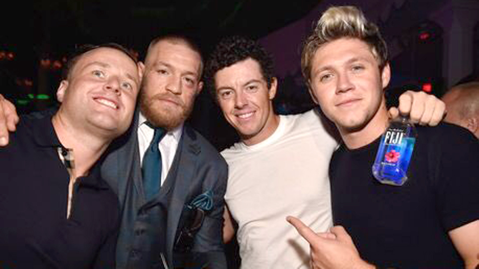 Rory McIlroy and pal Niall Horan (right) of One Direction were among those who celebrated Conor McGregor's UFC 202 victory over Nate Diaz.