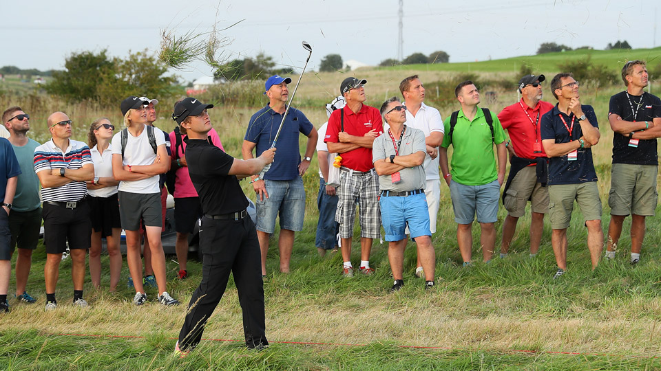 Tom Lewis during Thursday's first round in Denmark.