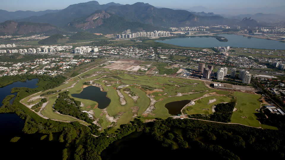 An aerial view of the Gil Hanse-designed Olympic Golf Course in Rio de Janeiro.