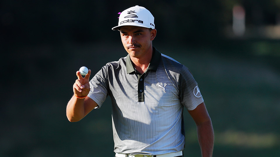 Rickie Fowler waves to the gallery on the 18th green after a three-under par 68 during the third round of The Barclays.