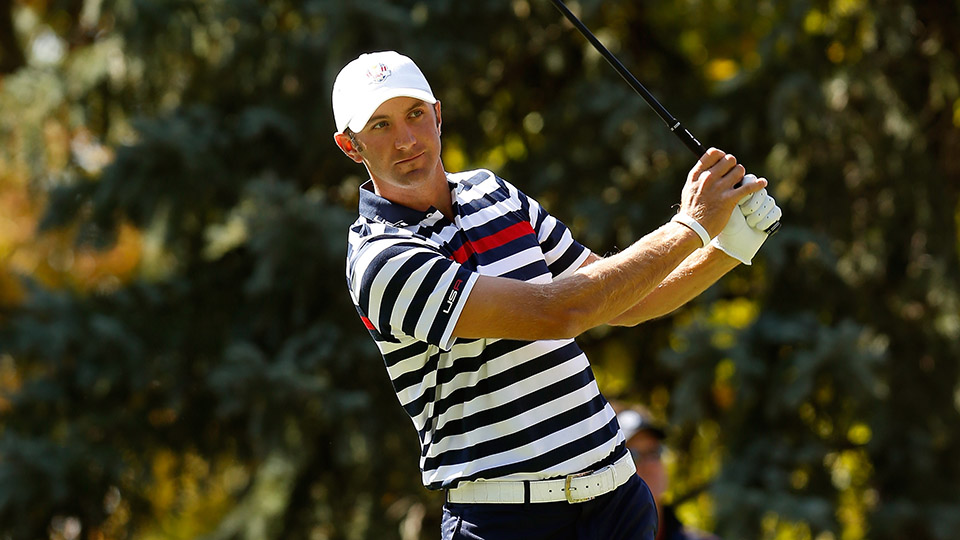 Dustin Johnson watches his tee shot on the fourth hole during the Singles Matches for the 2012 Ryder Cup at Medinah Country Club.