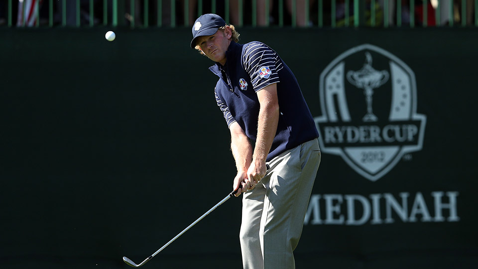 Brandt Snedeker plays his third shot to the 13th green during day two of the Morning Foursome Matches for the 2012 Ryder Cup at Medinah Country Club.
