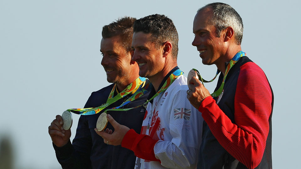 Stenson (left) and Kuchar (right) matched Rose's joy after all medaled in Rio.