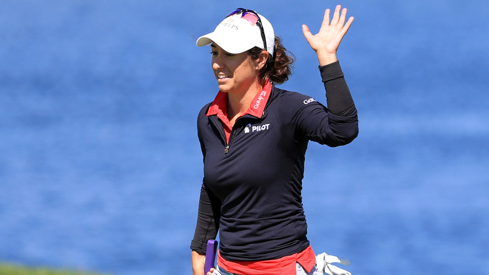 Marina Alex eagled her final hole for an 8-under 64 and the second-round lead Friday in the LPGA Manulife Classic.