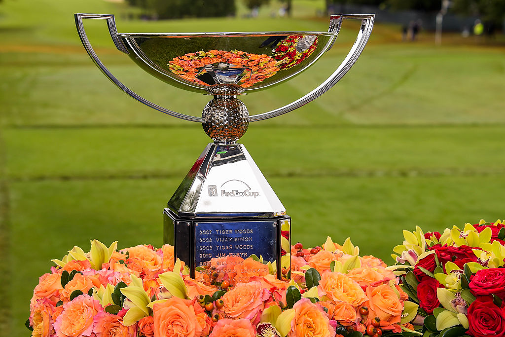 The FedExCup trophy sits on display on the first hole tee box during the final round of the TOUR Championship in 2015.