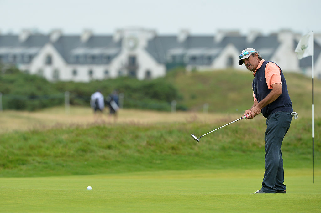 Carlos Franco of Paraguay putting on the 14th during the third day of The Senior Open Championship.