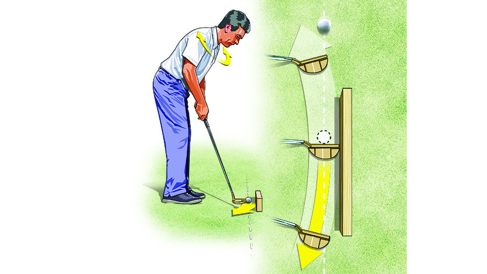 Use your shoulders to take the putterhead back and through on a natural inside-to-inside arc. You'll have a much better chance of squaring the putter at impact.