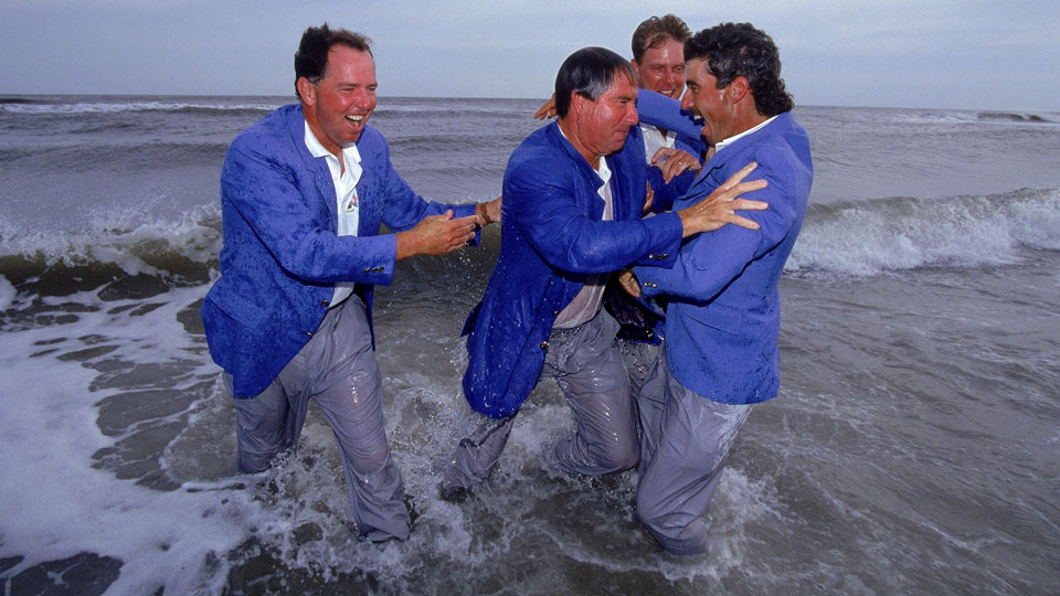 In 1991, Team USA made a big splash at Kiawah. Left to right: Mark O'Meara, Dave Stockton, Payne Stewart and Corey Pavin.