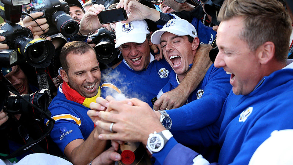 Sergio Garcia, Lee Westwood, Rory McIlroy and Ian Poulter celebrate winning the 2014 Ryder Cup.