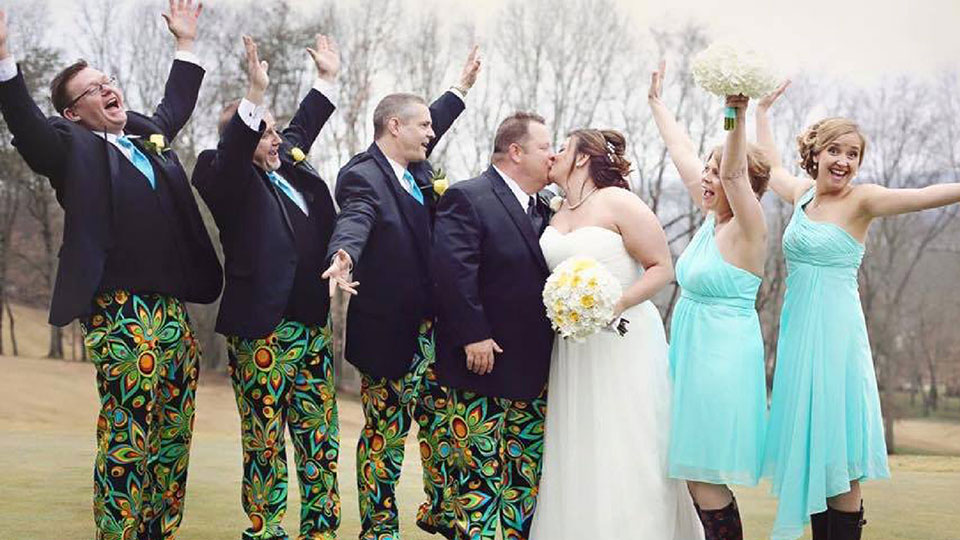 These John Daly-esque pants were the chosen outfit for this wedding.