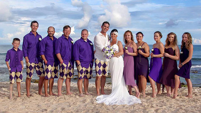 The stylish Loudmouth shorts were on display for this beach wedding.
