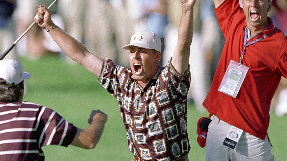 Justin Leonard celebrates holing a long birdie putt on the 17th green during the Americans' historic comeback at the 1999 Ryder Cup.