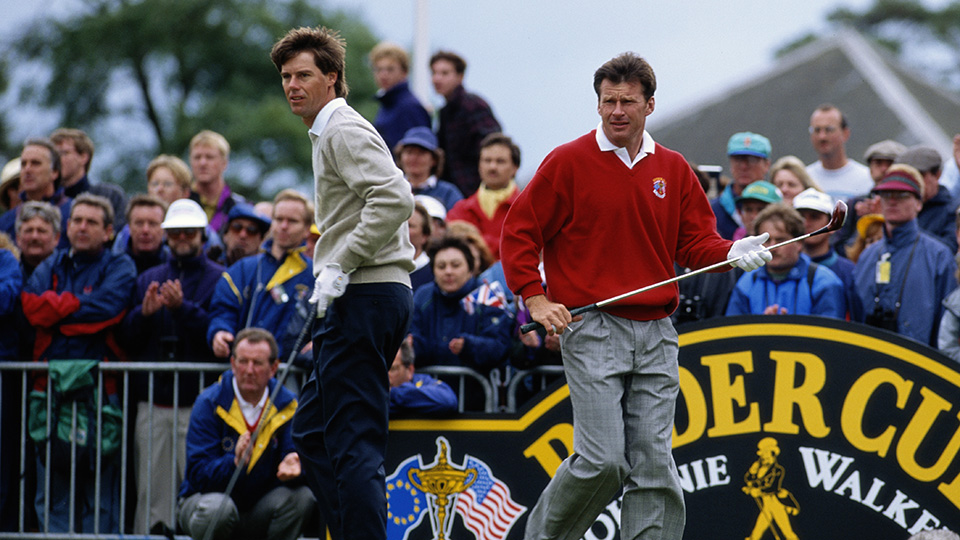 Paul Azinger and Nick Faldo during the singles matches at the 1993 Ryder Cup.