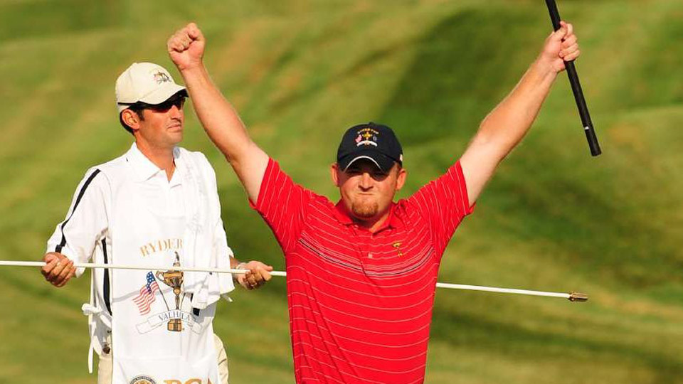 J.B. Holmes had a 2 and 1 victory to give the U.S. a boost late on Sunday.
