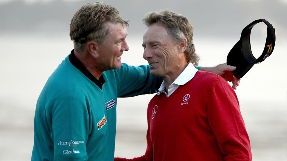 Bernhard Langer (right) congratulates Paul Broadhurst after Broadhurst won the Nature Valley First Tee Open at Pebble Beach Golf Links on Sunday.