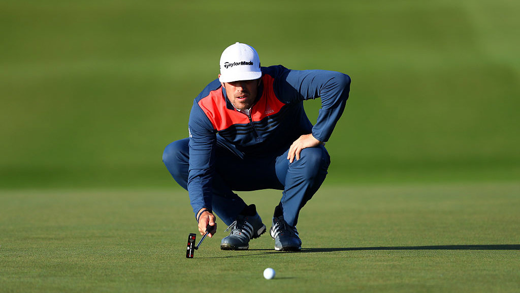 Nacho Elvira of Spain lines up a putt on the 2nd during the second round on day two of the KLM Open at The Dutch.