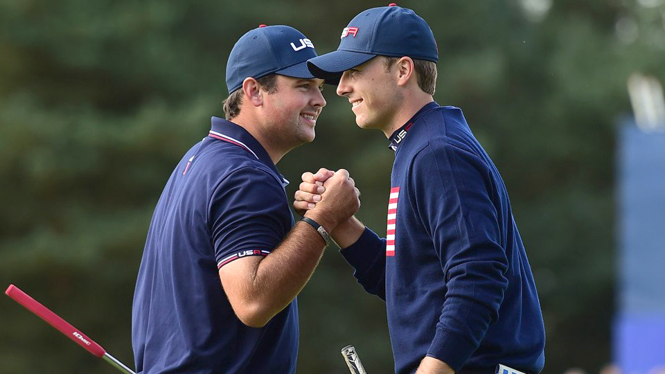 Patrick Reed and Jordan Spieth earned a half point for the U.S. in foursomes at the 2014 Ryder Cup, as the Europeans dominated the format.