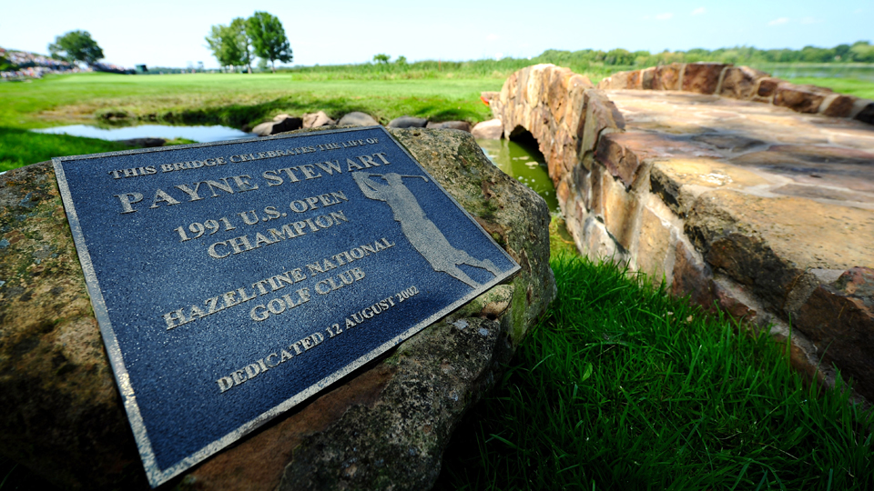 A stone bridge on Hazeltine's 16th hole was dedicated to Stewart after his death. The hole will play as the 7th for the Ryder Cup.
