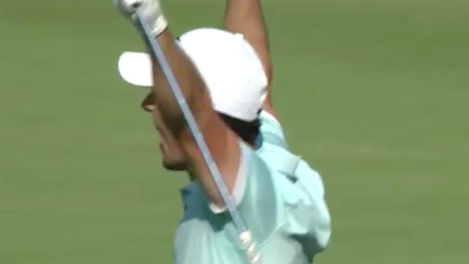 Rory McIlroy celebrates his eagle on the 16th hole Sunday.