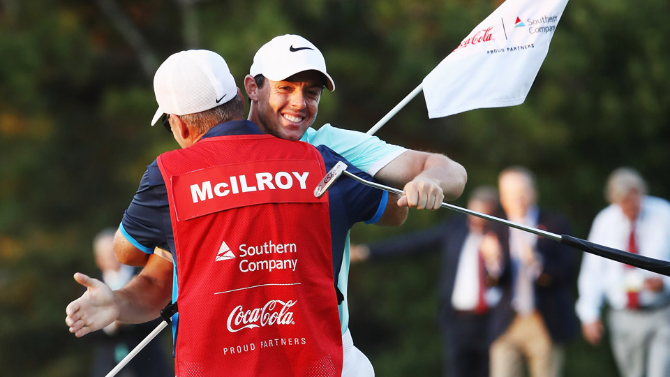 Rory McIlroy celebrates his winning putt at the 2016 Tour Championship.