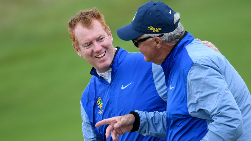 The author and a fellow Coyne Cupper head to the 19th hole.