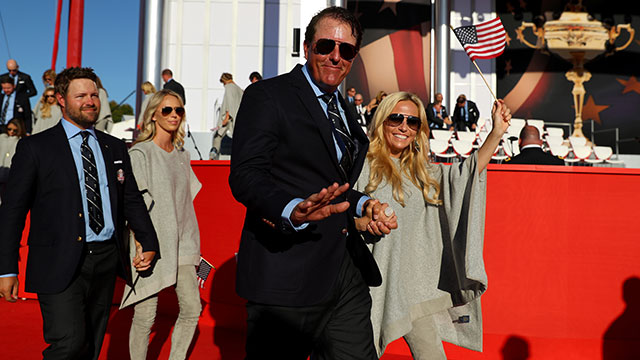 Phil Mickelson of the United States and Amy Mickelson attend the 2016 Ryder Cup Opening Ceremony at Hazeltine National Golf Club.